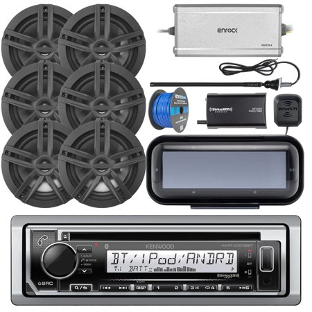 Kenwood KMRD372BT Marine CD Bluetooth Receiver, Single DIN Radio Cover, 4x Enrock Marine 2-Way 6.5