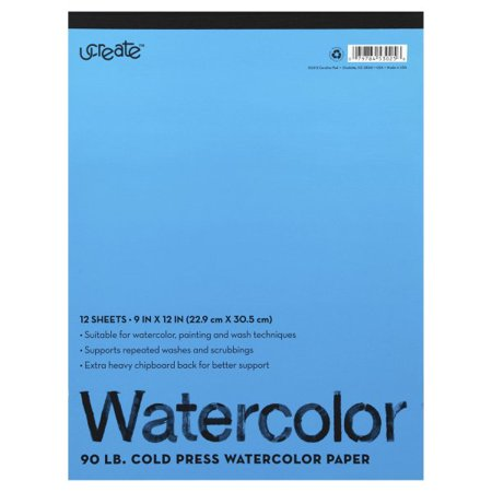 Carolina Pad, U Create 90 lb Cold Press Watercolor Paper, 12