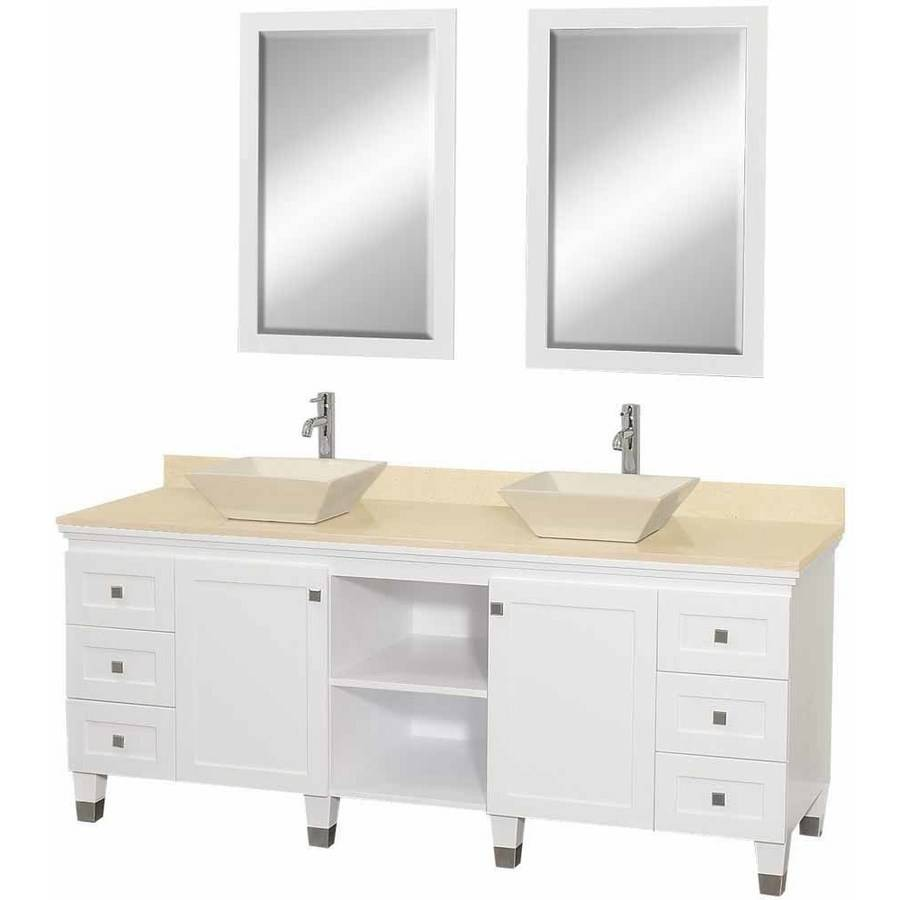 Wyndham Collection Premiere 72 inch Double Bathroom Vanity in White, Ivory Marble Countertop, Pyra Bone Porcelain Sinks, and 24 inch Mirrors