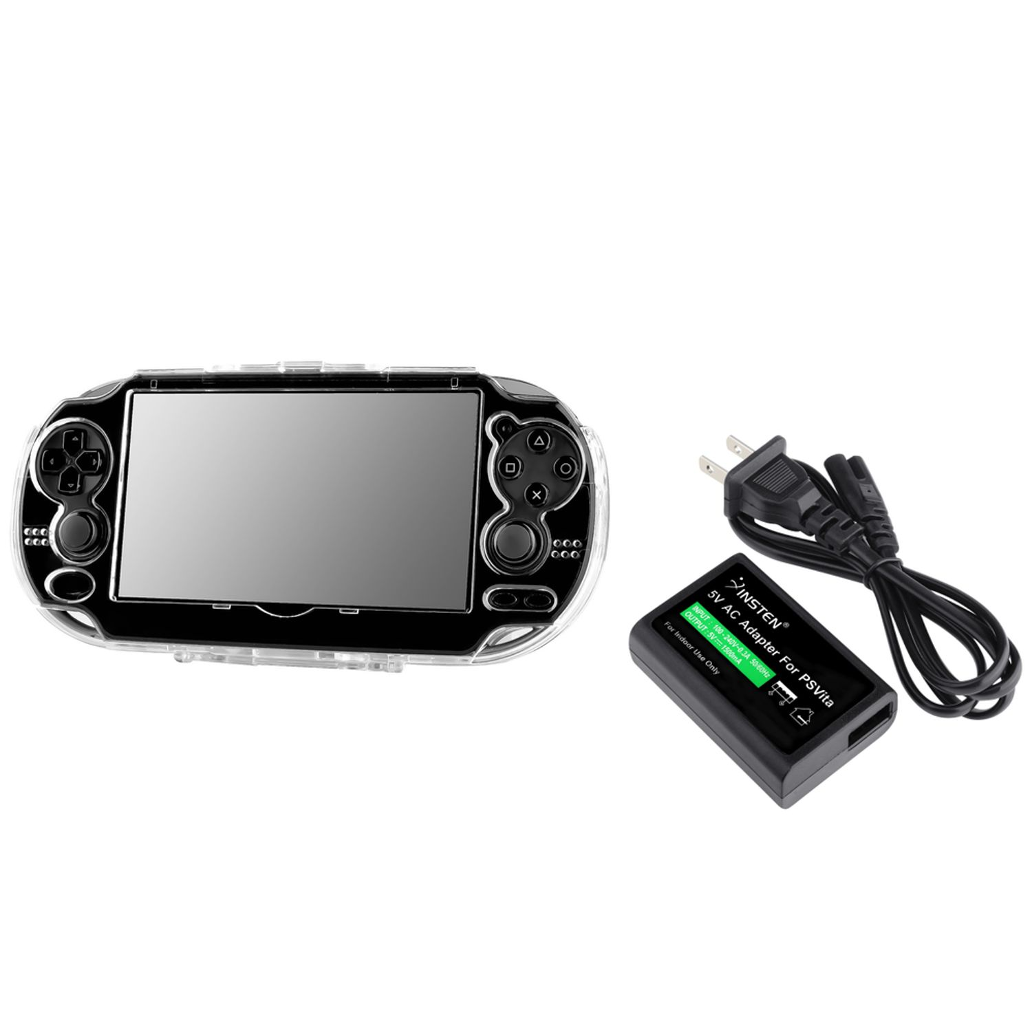 Insten Plastic Crystal Case + Wall Charger For Sony PlayStation Vita (2-in-1 Accessory Bundle)