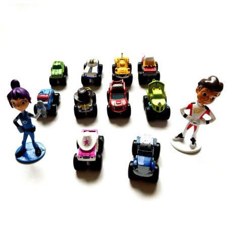 Blaze And The Monster Machines 12pcs Cake Topper Toy Set, Vehicle Action Figures including Blaze, AJ, Stripes, Zeg the Dinosaur Truck, Crusher and Many More!