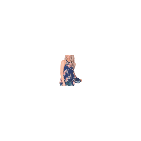 e9924e11423f98 ABDPD - DDSOL Womens High Neck Floral Tank Tops Flowy Halter Top Cami Shirt  Casual Sleeveless Blouse - Walmart.com