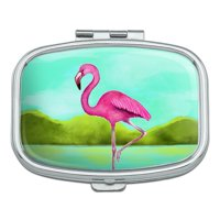 Pink Flamingo in Water Rectangle Pill Case Trinket Gift Box