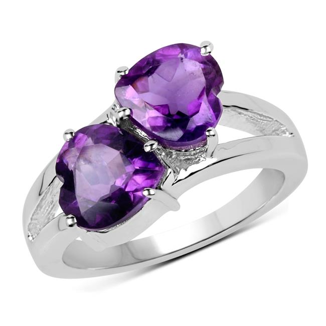Malaika QR19086A-SSR-7 Sterling Silver Ring with One Gems Stone, Purple - Size 7 - image 1 de 1