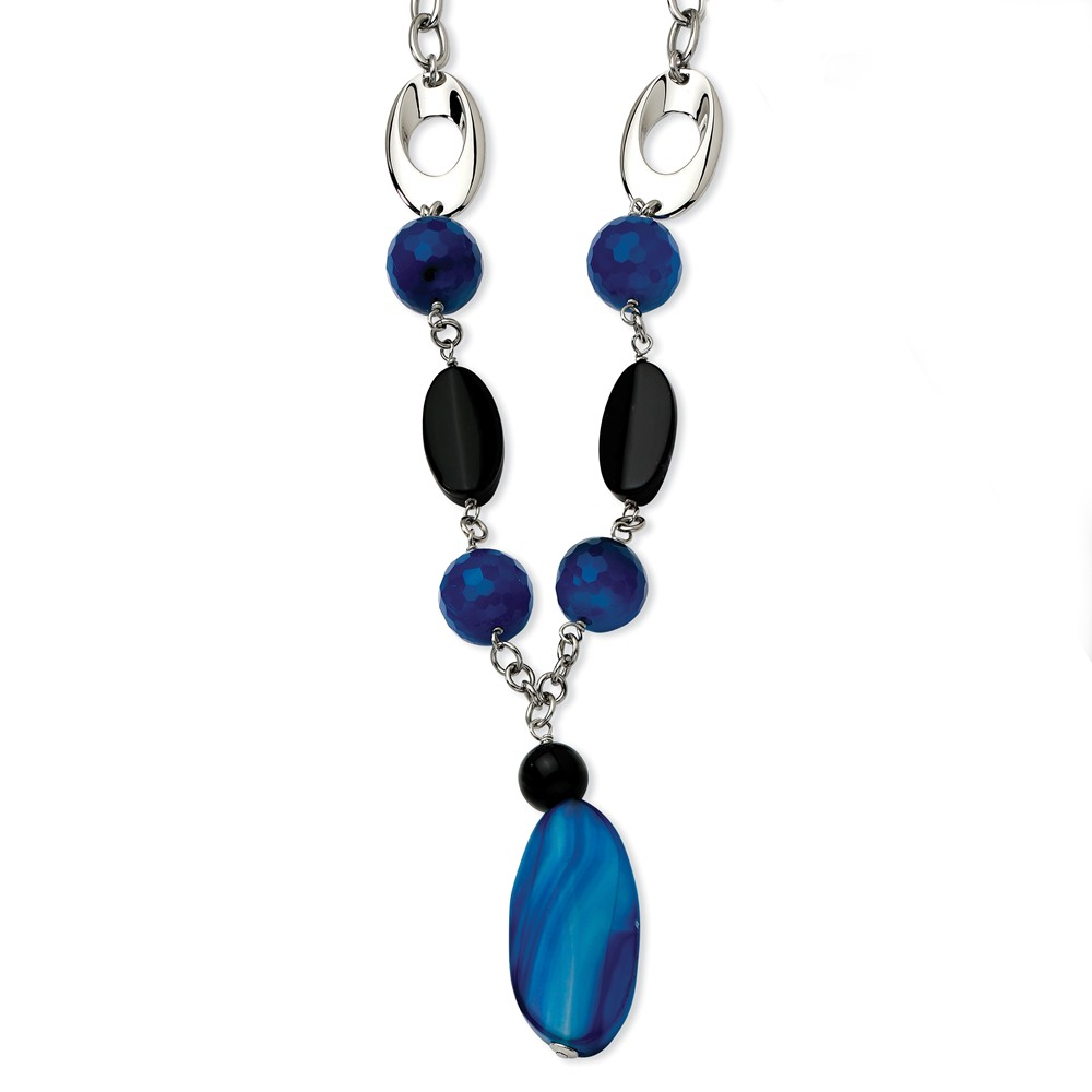 Stainless Steel Blue & Black Agate 24 w/ 2in ext. Necklace