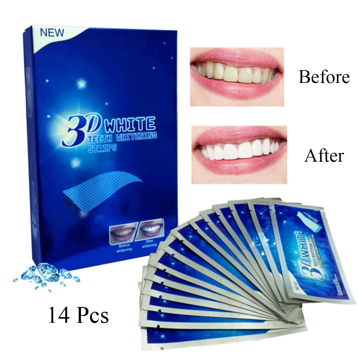 3D White Whitestrips Professional Bleaching Whitening Teeth Effects 14 Pouches 28 Strips