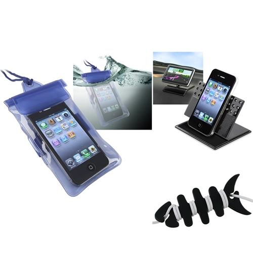 Insten Blue Waterproof Bag Case+Holder+Fishbone Wrap for Samsung Galaxy S3 Mini i8190 iPhone 4S 4 iPod Touch 4th