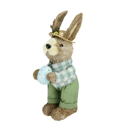 "10"" Spring Sisal Easter Standing Bunny Rabbit Figure with Robin"