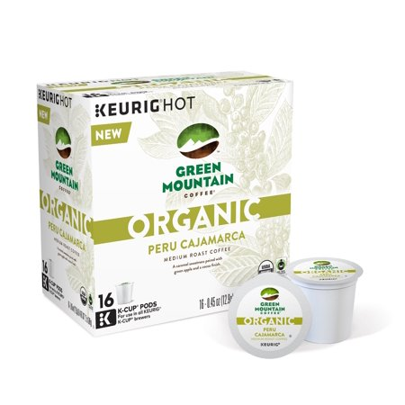 Green Mountain Coffee Organic Peru Cajamarca Coffee Keurig Single-Serve K-Cup pods, Medium Roast Coffee, 16 Count