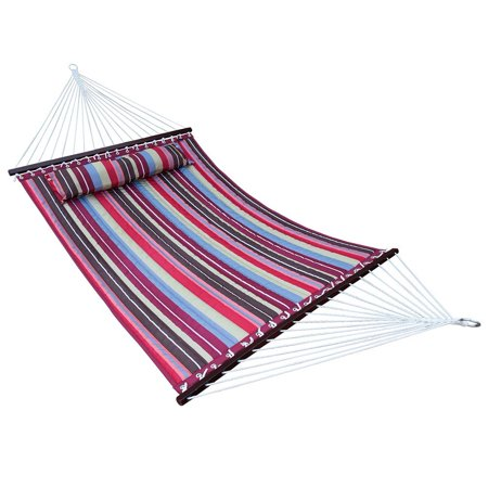Hammock Quilted Fabric with Pillow Double Size Spreader Bar Heavy Duty Stylish for Outdoor Garden Patio, 2 Person 450 lbs Capacity ()