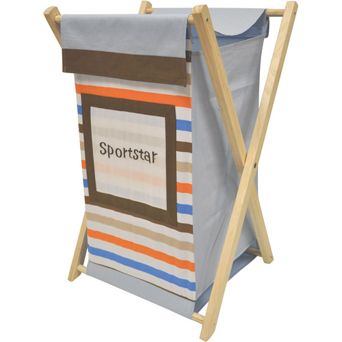 Bacati Mod Sports Hamper with Cotton Percale cover, mesh liner and Natural Color Wooden frame by Bacati