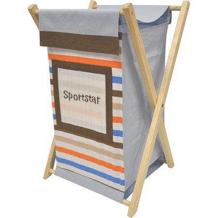 Bacati Mod Sports Hamper With Cotton Percale Cover Mesh Liner And Natural Color Wooden Frame