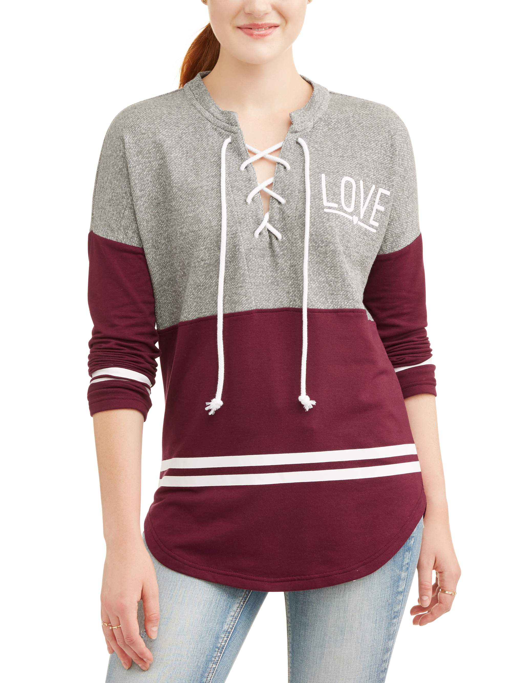 CHECK FOR SIZE BURGUNDY NO BOUNDARIES JUNIORS LACE UP SWEATER