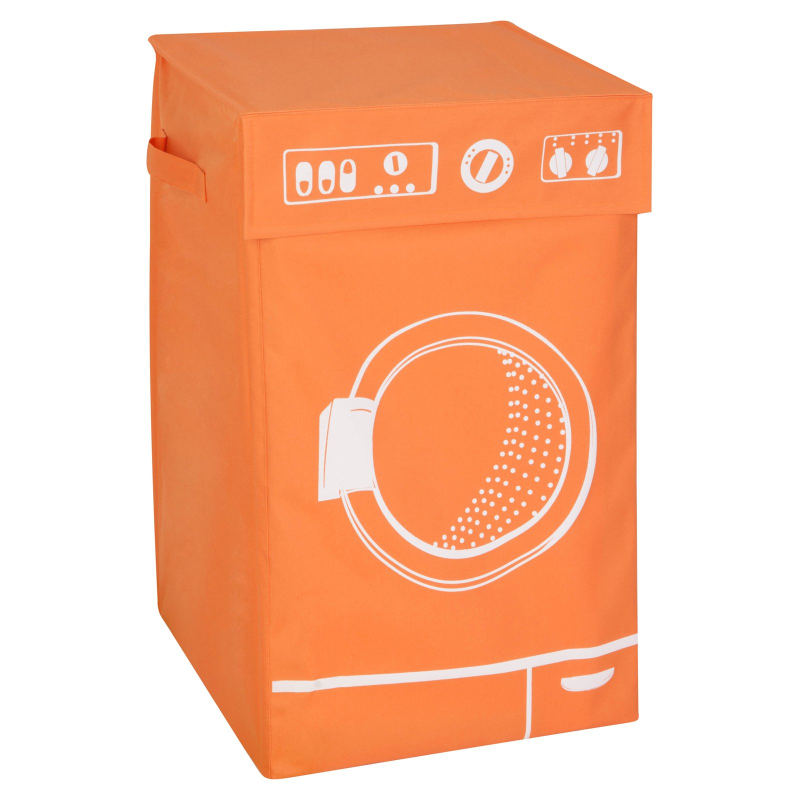 Honey Can Do Laundry Hamper with Lid and Washing Machine Theme, Multicolor