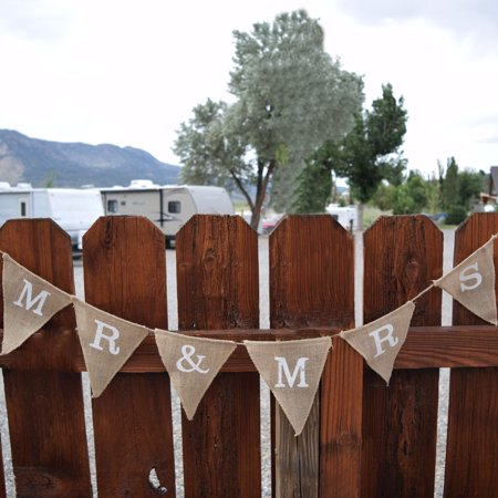 Triangle Flag Case (Quasimoon Mr & Mrs Wedding Burlap Triangle Flag Pennant Banner (5 Ft) by)