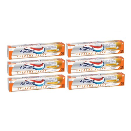 (6 Pack) Aquafresh Extreme Clean Whitening Action Mint Blast Fluoride Toothpaste 5.6 oz. -