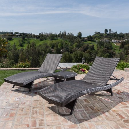 Outdoor Brown Wicker 3-piece Adjustable Chaise Lounge -