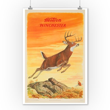 Western Winchester (deer) Vintage Poster (artist: Pursell & Woods) USA c. 1955 (9x12 Art Print, Wall Decor Travel Poster)