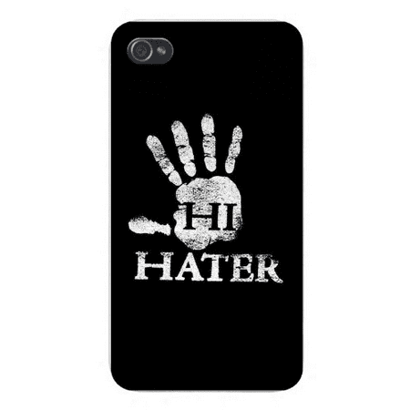 "Apple Iphone Custom Case 5 / 5s AND SE White Plastic Snap on - ""Hi Hater"" w/ Hand Print on Black"