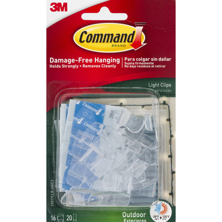 Command Outdoor Light Clips 16 Clips 20 Strips Pack