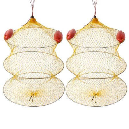"""2 Pcs 18.9"""" Height 2 Sections Foldable Fishing Landing Net Fish Keepnet Cage Yellow Silver Tone Red"""