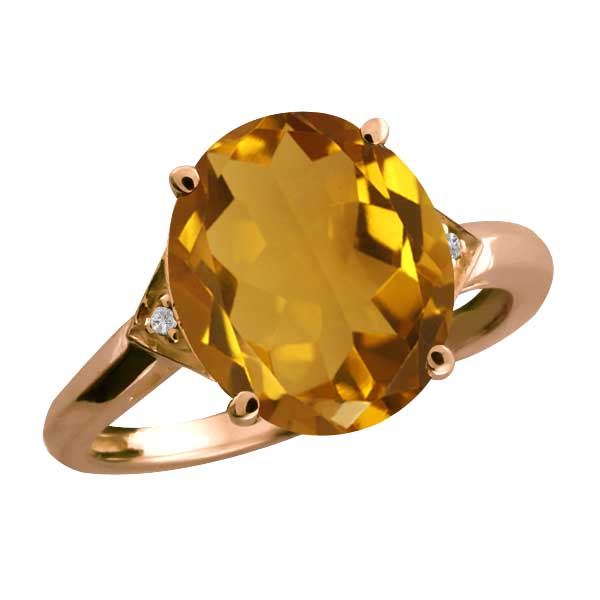 4.31 Ct Oval Champagne Quartz and Topaz Gold Plated Sterling Silver Ring