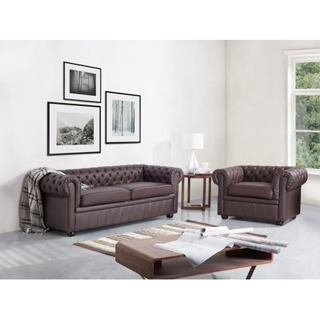 Chesterfield Sofa Traditional Style Genuine Brown Leather 3-Seater Living  Room