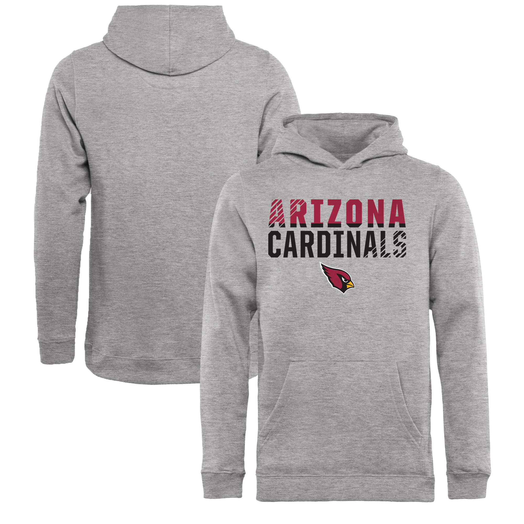 Arizona Cardinals NFL Pro Line by Fanatics Branded Youth Iconic Collection Fade Out Pullover Hoodie - Ash