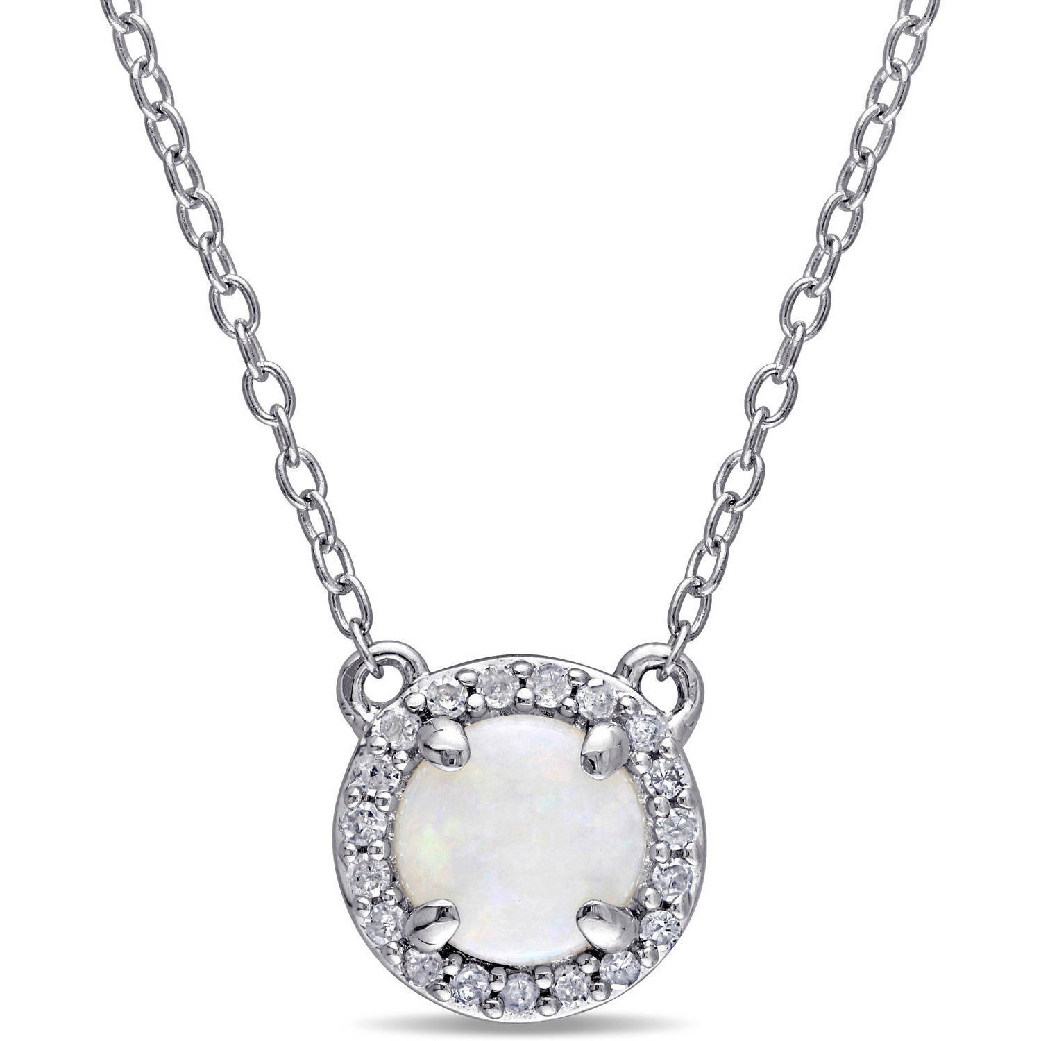 """5 8 Carat T.G.W. Opal and Diamond-Accent Sterling Silver Halo Necklace, 16"""" by Generic"""