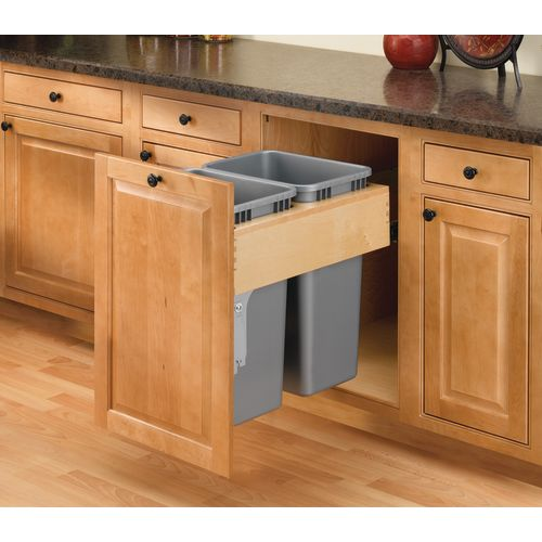 Rev-A-Shelf 4WCTM-2150BBSCDM-2 4WCTM Top Mount Double Bin Trash Can with Soft Close Slides - 50 Quart Capacity per Bin