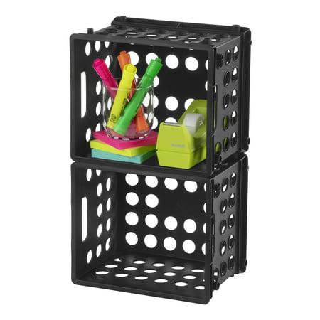 "Sterilite Plastic Storage Cube / Mini Crate, 9"" L x 7 3/4"" W x 6 1/8"" H, Black, Back to College"