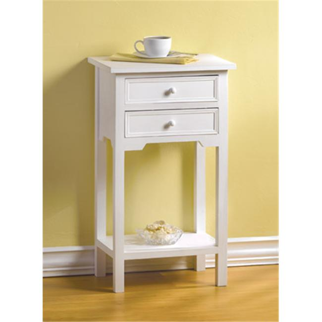 SWM 36644 White Side Table with 2 Drawers and Bottom Shelf