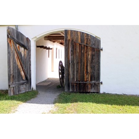 LAMINATED POSTER Wood Doors Goal Hinged Door Round Arch Input Wood Poster Print 11 x 17