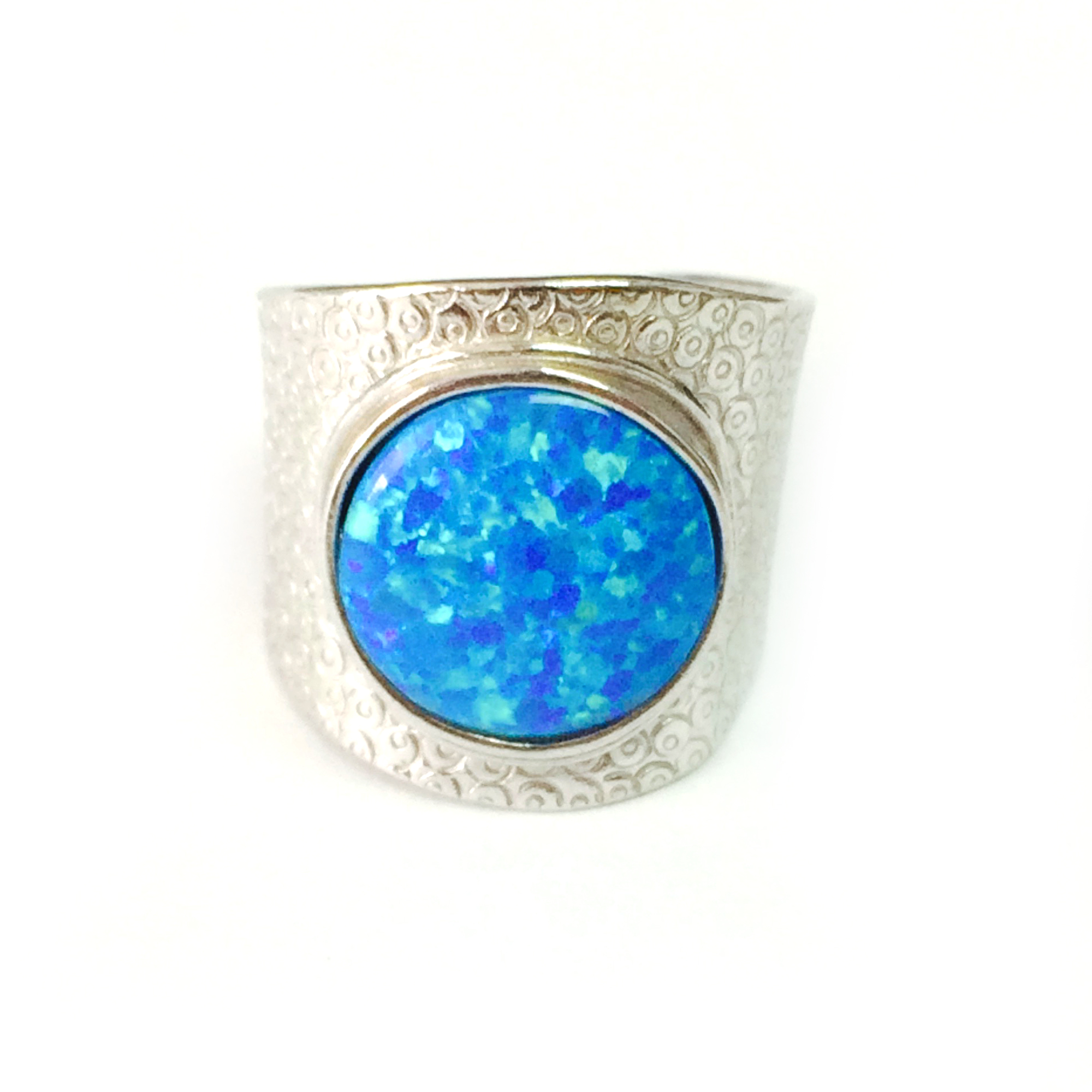 Synthetic Blue Sapphire White Gold Plated 925 Sterling Silver Ring SZ 6