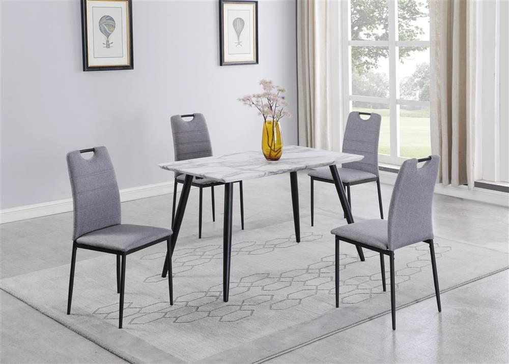 Chintaly Contemporary Gray Marbleized Laminate Dining Table Walmart Com Walmart Com