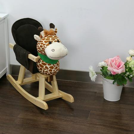 Kinbor Baby Kids Toy Plush Wooden Rocking Horse Giraffe Theme Style