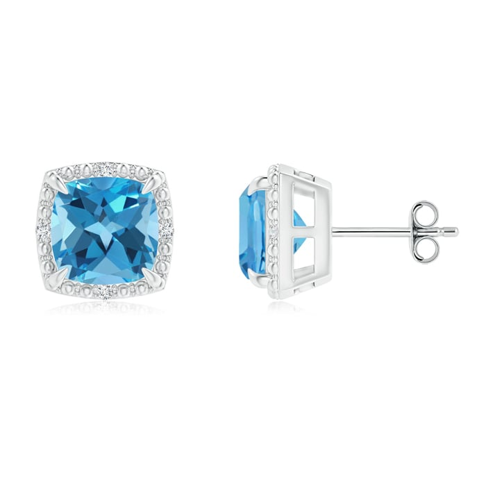 Angara Cushion Blue Sapphire Stud Earrings with Diamond Accents q14LEekee