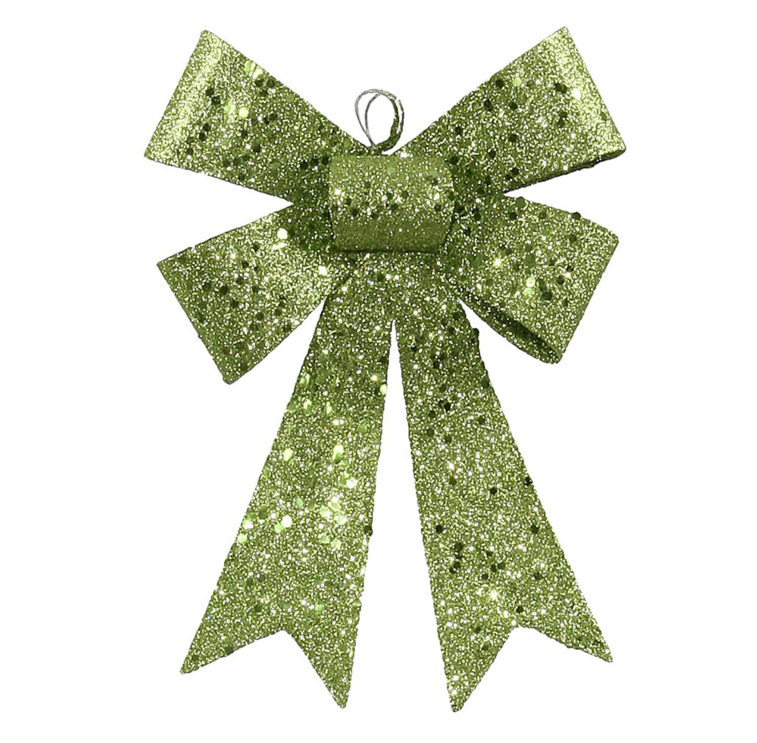 """7"""" Lime Green Sequin and Glitter Bow Christmas Ornament"""