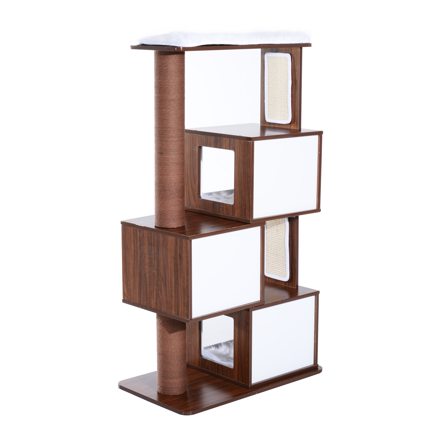 Pawhut 54 Mid Century Modern Modular Cat Tree Coffee White Com