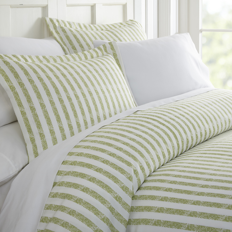 Simply Soft 3 Piece Puffed Rugged Stripes Duvet Cover Set