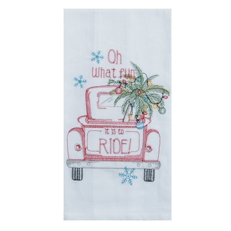Holiday Red Pickup Truck Oh What Fun Embroidered Flour Sack Kitchen Dish Towel