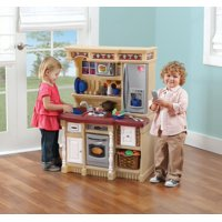 Step2 LifeStyle Custom Play Kitchen with 20 Piece Accessory Set - Tan