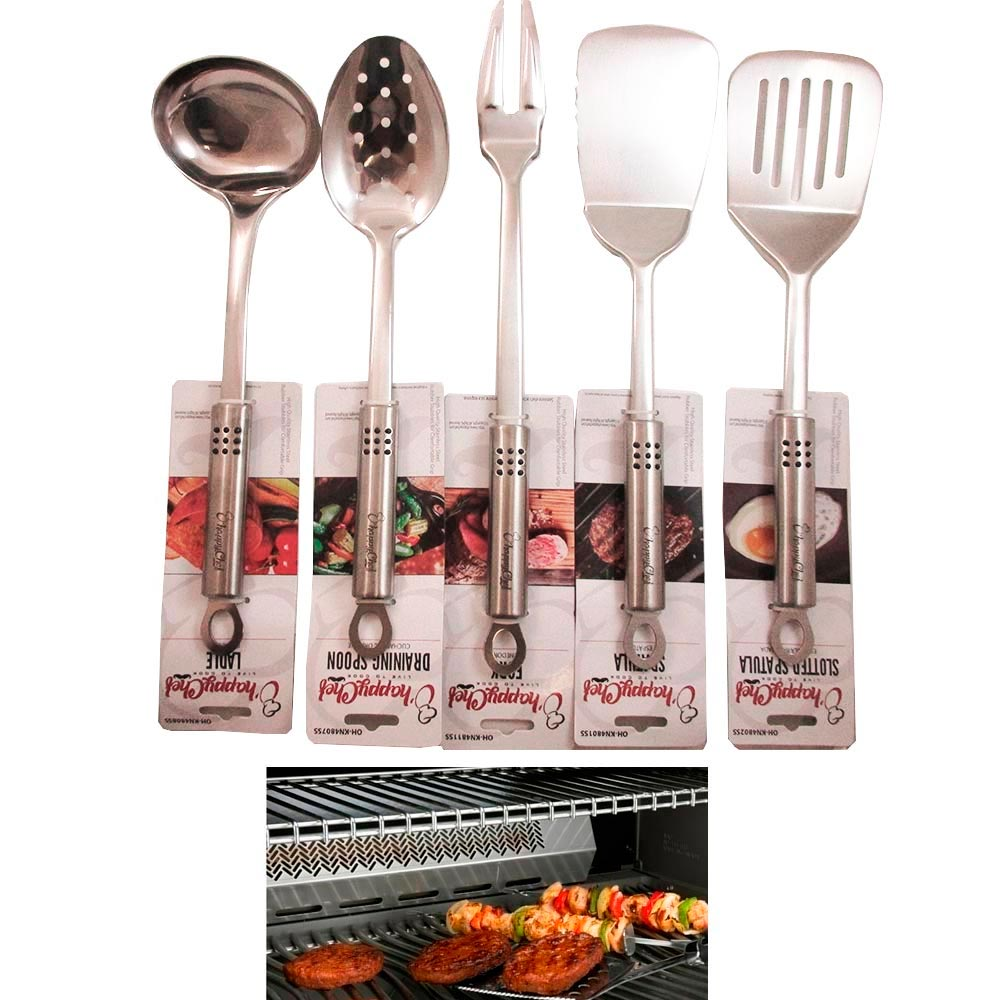 5 Stainless Steel Serving Set Kitchen Cooking Utensil Tools Server Spatula Spoon by TRISONIC