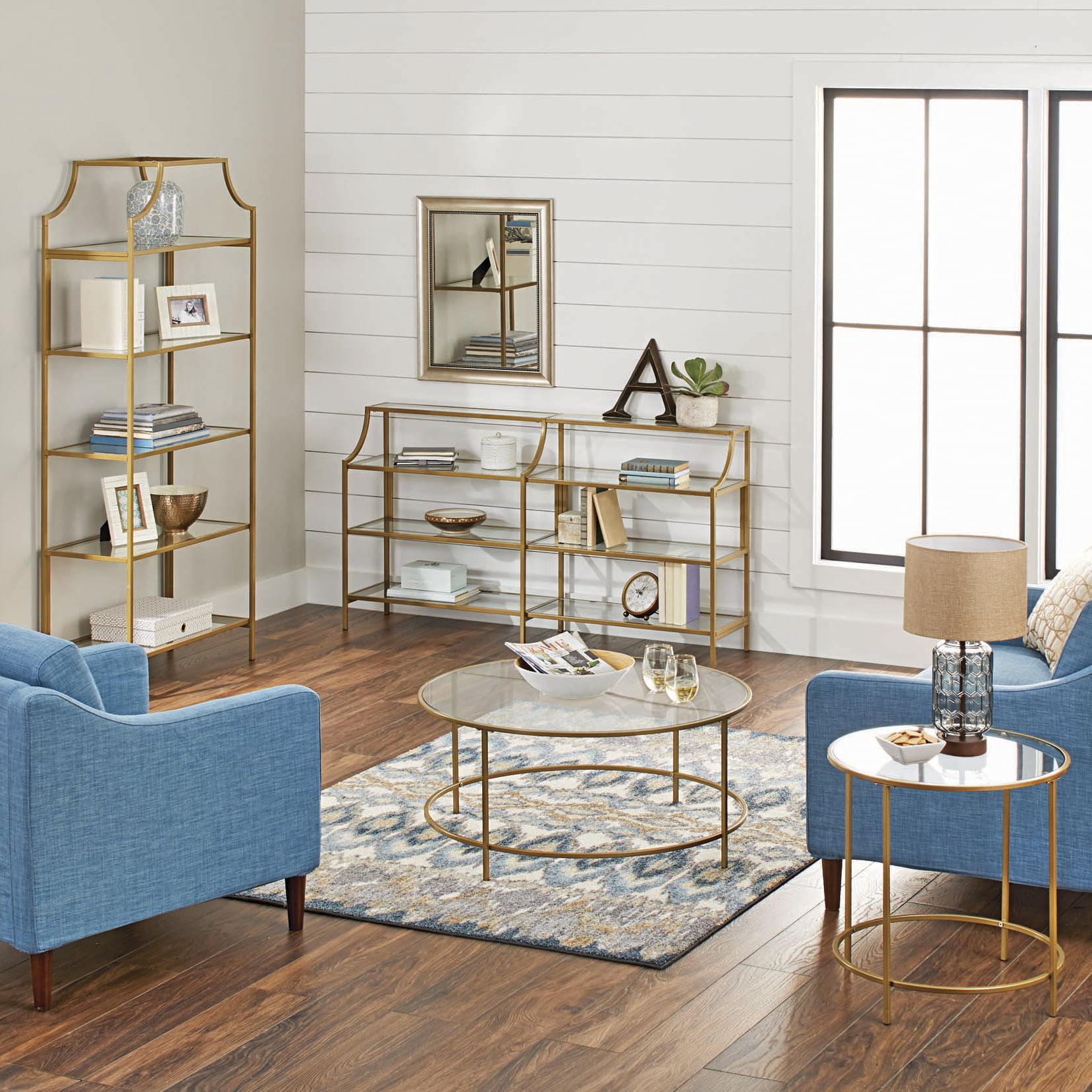 Nola Bookcase Gold Tone Traditional Modern Glass 5 Shelf Shelves Livingroom  NEW