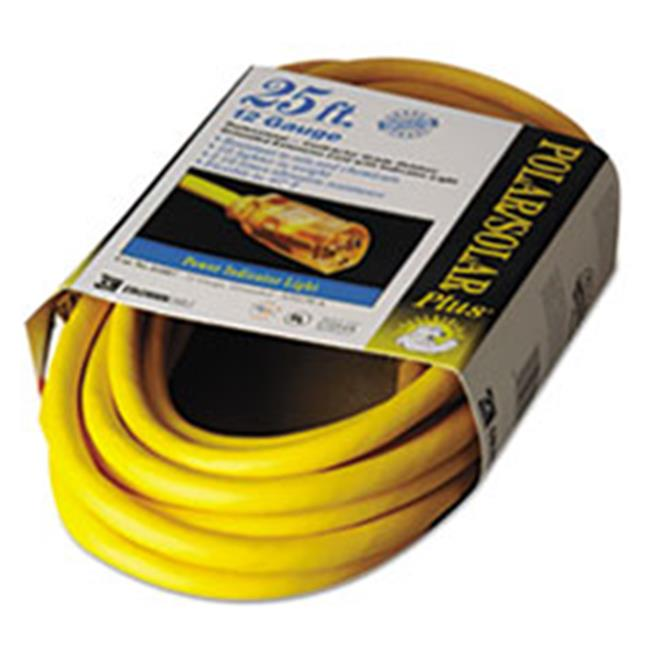 Coc 01687 25 ft.  Polar & Solar Indoor-Outdoor Extension Cord With Lighted End, Yellow