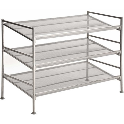 Seville Classics 3-Tier Iron Mesh Multi-Position Shoe Rack, Silver