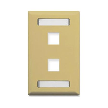 ICC IC107S02IV Classic Single Gang Faceplate With ID - Ivory, 2 Port