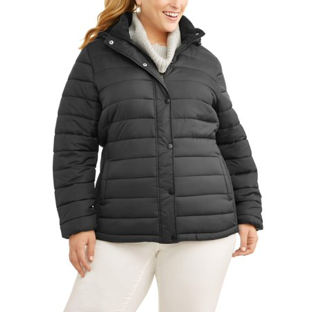 Time and Tru Women's Plus-Size Hooded Puffer Jacket for $<!---->