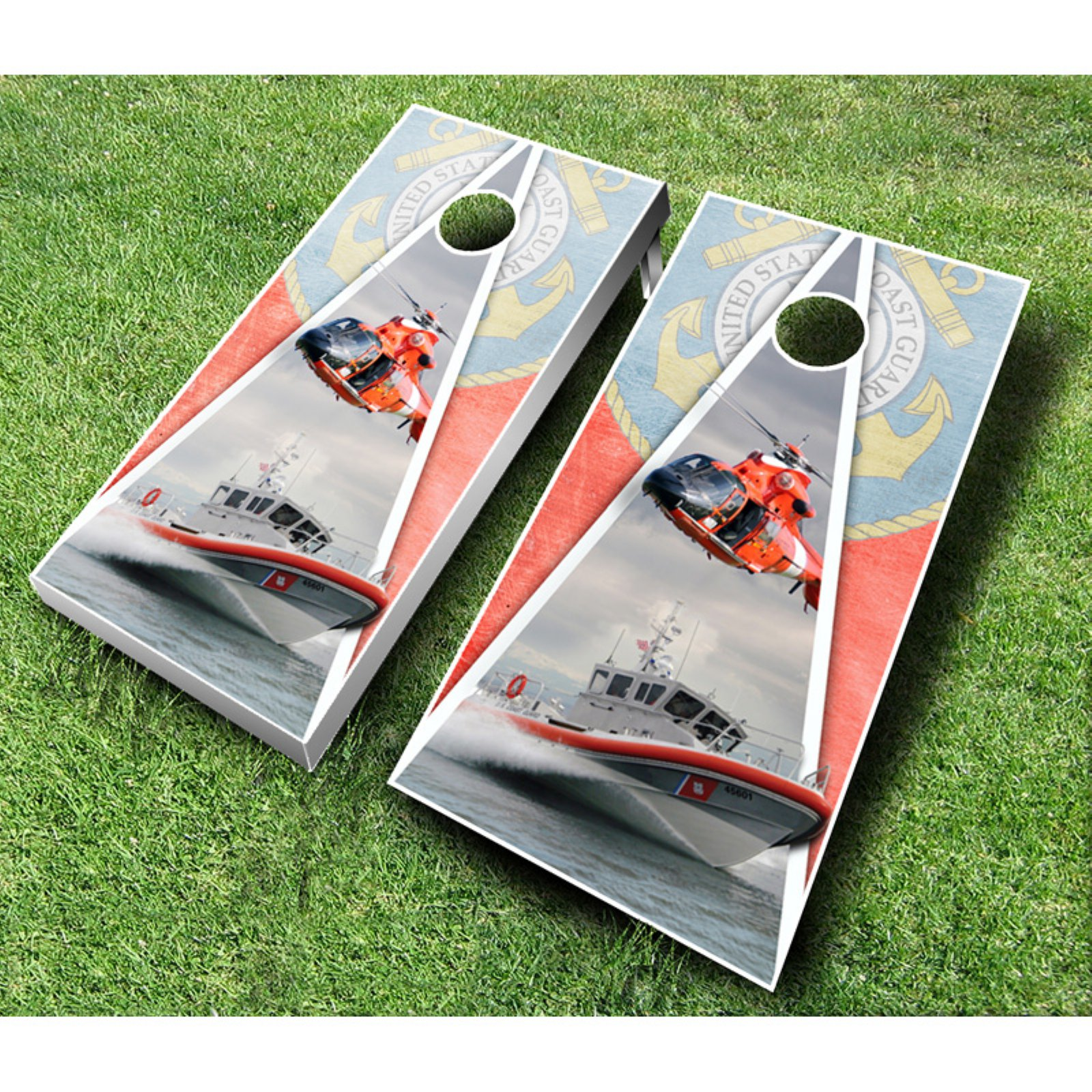 Coast Guard Cornhole Set with Bags by AJJ Cornhole