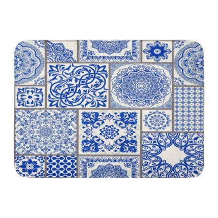 GODPOK Patchwork with Victorian Motives Majolica Pottery Blue and White Azulejo Original Traditional Portuguese Rug Doormat Bath Mat 23.6x15.7
